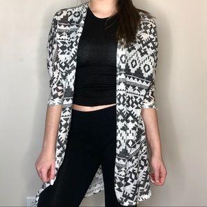 White and Grey Aztec Cardigan